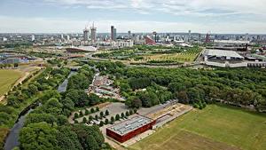 Картинки Англия Здания Река Парк Лондоне Мегаполис