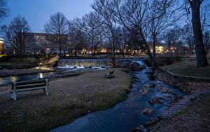 Фотографии Англия Дома Речка Водопады Вечер Парки Скамья Milford Города