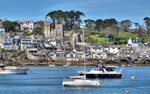 Обои Англия Дома Реки Яхта Fowey Cornwall город