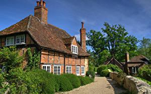 Картинки Англия Здания Ограда Кусты Waterstock Mill, Oxfordshire