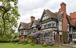 Картинка Англия Здания Особняк Дизайна Газоне Кустов Wightwick Manor город