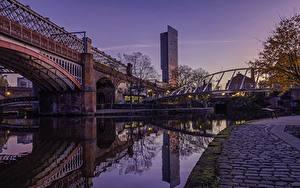 Фотография Англия Утро Мосты Manchester город