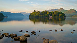 Обои Англия Гора Озеро Камень Пейзаж Keswick, Cumbria