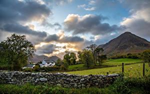 Фото Англия Горы Парки Облака Забор Каменные Lake District, Cumbria