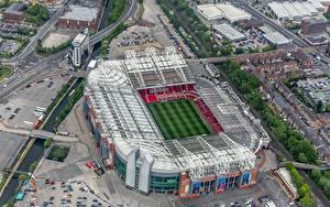 Обои для рабочего стола Англия Сверху Стадион Old Trafford, Manchester United Города