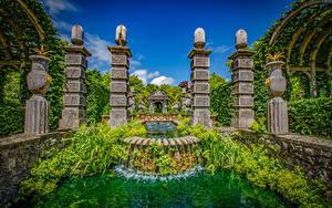 Картинки Англия Парк Фонтаны Водопады Дизайн Arundel Castle Gardens