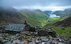 Обои Англия Парки Гора Камни Облачно Lake District, Warnscale Bothy