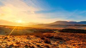 Картинка Англия Парк Рассвет и закат Лучи света Холмов Горизонт Yorkshire Dales national Park, Yorkshire Природа