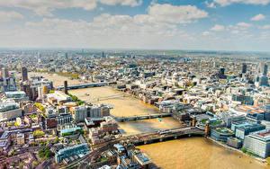 Фотографии Англия Река Мосты Здания Лондоне Temsa