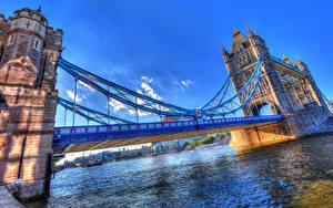 Фотографии Англия Реки Мост Небо HDR Лондон Tower Bridge город