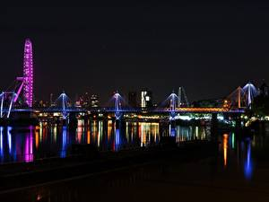 Обои Англия Речка Мост Лондон Ночь Thames