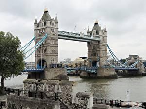 Картинки Англия Реки Мосты Лондон Tower Bridge, Thames