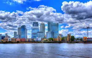 Фотография Англия Речка Здания Облачно Лондон HDRI Canary Wharf
