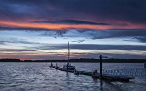 Картинка Англия Реки Пирсы Рассветы и закаты Катера Apuldram Природа