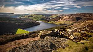 Картинка Англия Река Пейзаж Холмы Bamford Edge, Derbyshire Природа