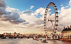 Обои Англия Речка Небо Лондон Колесом обозрения Облако Thames River skyline the London Eye