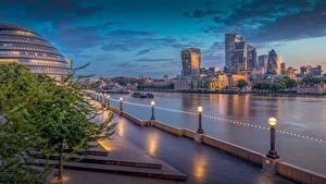 Фотография Англия Речка Рассвет и закат Здания Утро Лондоне Набережная Thames Города