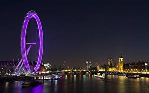 Картинки Англия Реки Лондон Ночью Биг-Бен Колесом обозрения Thames Города