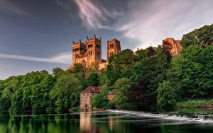 Фотографии Англия Реки Водопады Дома Деревья Durham City город Природа