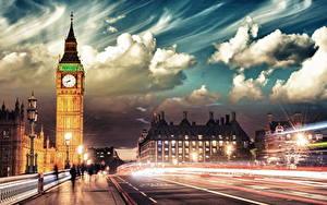 Фотографии Англия Дороги Лондон Облако Улице Движение Биг-Бен Уличные фонари