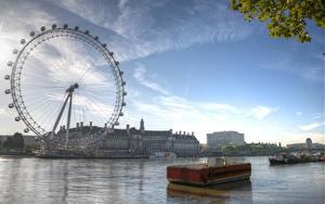 Картинки Англия Небо Колесом обозрения Лондон Lies Thru a Lens London Eye at Dawn