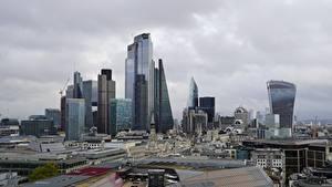 Обои для рабочего стола Англия Небоскребы Лондон Мегаполис город