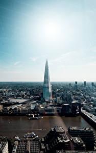 Фотография Англия Небоскребы Речка Лондоне The Shard, Thames город
