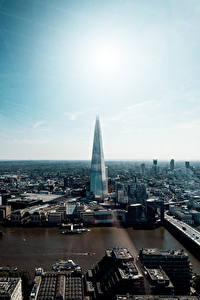 Обои для рабочего стола Англия Небоскребы Речка Лондоне The Shard, Thames город