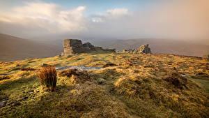 Фотография Англия Камень Руины Холм Dartmoor Природа