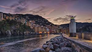 Картинки Вечер Здания Камень Пирсы Италия Лигурия Маяк Залива Camogli город