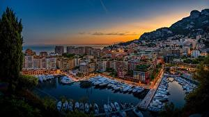 Фотография Вечер Здания Яхта Монако Fontvieille город