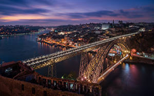 Фото Вечер Речка Мосты Портус Кале Португалия Dom Luis Bridge, Douro river Города