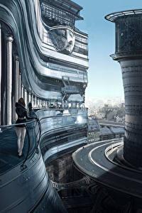 Фотография Фантастический мир Дороги Здания Фантастика