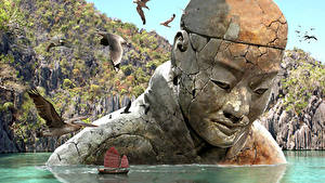 Картинки Фантастический мир Корабль Воде Чайка Памятники Фэнтези