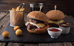Фотографии Быстрое питание Гамбургер Мясные продукты Сыры Кетчупом