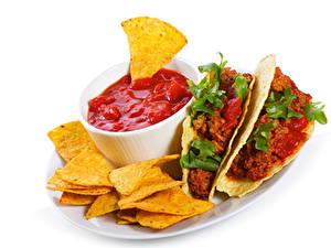 Фото Фастфуд Мясные продукты Чипсы Кетчупом Mexican tacos Еда