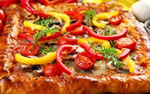 Картинки Быстрое питание Пицца Овощи Вблизи Еда