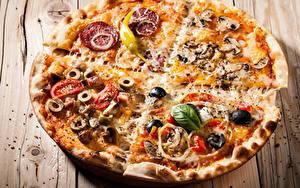 Картинки Фастфуд Пицца Крупным планом Еда