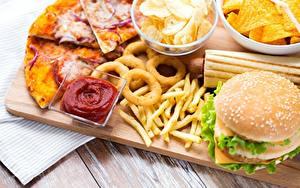 Фото Быстрое питание Пицца Картофель фри Гамбургер Кетчупом Чипсы
