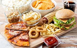 Картинка Быстрое питание Пицца Гамбургер Картофель фри Кетчупа Пища