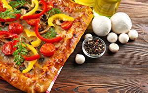 Обои Быстрое питание Пицца Грибы Перец чёрный Доски Пища