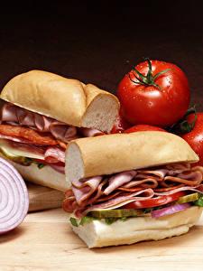 Фотографии Фастфуд Сэндвич Мясные продукты Овощи Хлеб