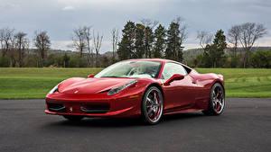 Обои Феррари Красный Металлик 2009-15 458 Italia Pininfarina Автомобили