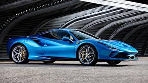 Обои Феррари Синяя Металлик Купе 2019, Tributo, Ferrari F8 авто