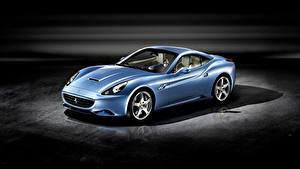 Фотографии Ferrari Голубых Металлик Родстер California Автомобили