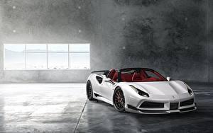 Картинка Ferrari Белая Родстер Wide 488 Rearl авто