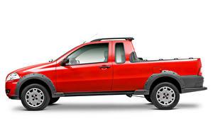 Картинки Фиат Пикап кузов Красный Металлик Сбоку Белом фоне Strada Working CE (278), 2009–12 автомобиль