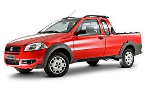 Обои Фиат Красный Металлик Пикап кузов Белом фоне Strada Working CE (278), 2009–12 машина
