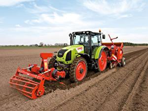Картинка Поля Сельскохозяйственная техника Тракторы 2008-20 Claas Axos 340