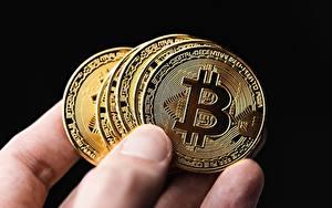 Фото Пальцы Вблизи Bitcoin Монеты Деньги На черном фоне